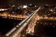 Alta vista del ponticello del D. Luis alla notte Fotografia Stock