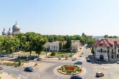 Alta vista della città del centro di Tecuci nella contea di Galati Fotografie Stock