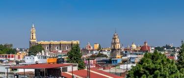 Alta vista della città di Cholula - Cholula, Puebla, Messico Immagine Stock