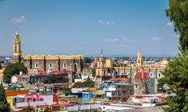 Alta vista della città di Cholula - Cholula, Puebla, Messico Fotografia Stock