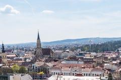 Alta vista della città di Cluj Napoca Fotografie Stock Libere da Diritti