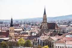 Alta vista della città di Cluj Napoca Immagine Stock Libera da Diritti