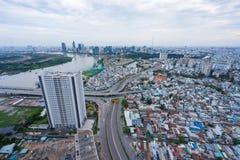 Alta vista della città di Sai Gon Cityscape Immagini Stock