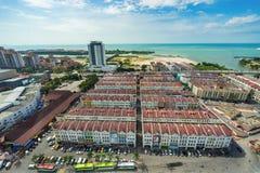 Alta vista della città malese antica nel Malacca Immagine Stock Libera da Diritti