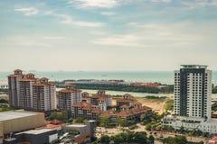 Alta vista della città malese antica nel Malacca Fotografia Stock Libera da Diritti