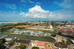 Alta vista della città malese antica nel Malacca Immagini Stock Libere da Diritti