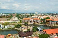 Alta vista della città malese antica nel Malacca Fotografie Stock Libere da Diritti