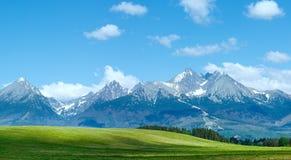 Alta vista della molla di Tatras (Slovacchia) Fotografia Stock