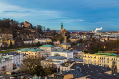 Alta vista delle costruzioni a Salisburgo Austria Fotografie Stock Libere da Diritti