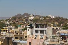 Alta vista delle costruzioni in Udaipur, India Fotografie Stock