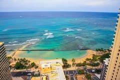 Alta vista di aumento della spiaggia di Waikki Immagini Stock Libere da Diritti