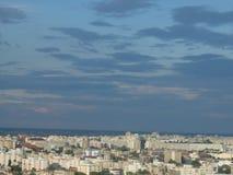 Alta vista di paesaggio urbano di crepuscolo di Bucarest Immagini Stock Libere da Diritti