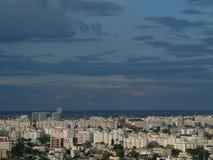 Alta vista di paesaggio urbano di crepuscolo di Bucarest Fotografia Stock