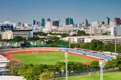 Alta vista di stadio di football americano a Bangkok Immagini Stock Libere da Diritti