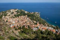 Alta vista di Taormina - la Sicilia, Italia Immagine Stock