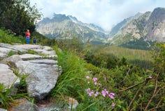 Alta vista e famiglia di estate di Tatras (Slovacchia) sul sentiero per pedoni. Immagine Stock