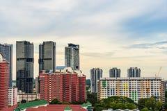 Alta vista Singapore del centro con la costruzione moderna dei grattacieli Fotografie Stock Libere da Diritti