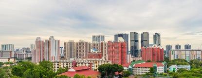 Alta vista Singapore del centro con la costruzione moderna dei grattacieli Immagine Stock
