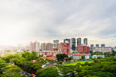 Alta vista Singapore del centro con la costruzione moderna dei grattacieli Fotografia Stock Libera da Diritti