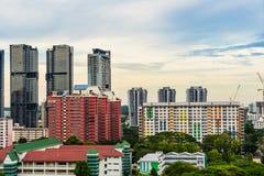 Alta vista Singapore del centro con la costruzione moderna dei grattacieli Immagini Stock