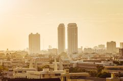 Alta vista su Bangkok nella sera Fotografia Stock