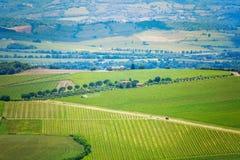 Alta vista sul paesaggio della Toscana, Italia Immagini Stock