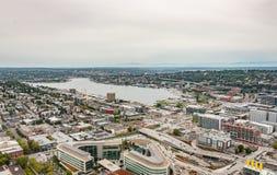 Alta vista sulla baia di Seattle Fotografie Stock Libere da Diritti
