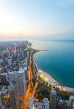 Alta vista sulla costa al tramonto Fotografie Stock Libere da Diritti