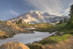 Alta Vista Sunrise. Sunrise at Alta Vista. The majestic Mt. Rainer lights up with spectacular clarity on August morning Stock Image