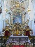 Altaar barokke kerk van het Heilige Kruis, Sazava-klooster, Tsjechische Republiek, Europa Royalty-vrije Stock Afbeelding