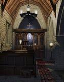 Altaar in een oude kerk royalty-vrije illustratie