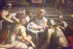Altaarstuk de Geboorte van Virgin door Sebastiano del Piombo in t stock afbeeldingen