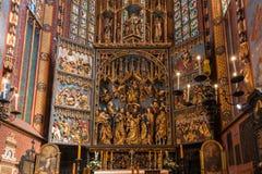 Altaarstuk Veit Stoss (St Marys Altaar) - Krakau (Krakau) - Polen Royalty-vrije Stock Afbeelding
