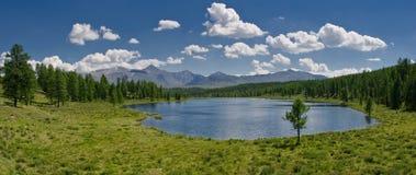 altai美好的湖山全景 免版税库存照片