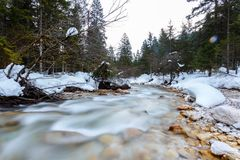 altai联邦山河俄国西伯利亚冬天 库存照片