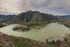 Altai, слияние Chui и Katun Стоковая Фотография