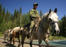ALTAI-BERG, RYSSLAND - 14 JULI, 2016: Lokalt folk som använder hästar för trans. på det Belukha berget Royaltyfria Bilder