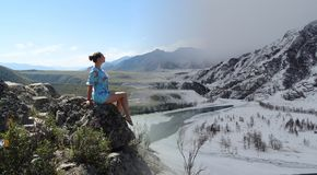 Altai. Chui-Oozy. In harmony with nature. Seasons. Russia. Altai Republic. Ongudai district. Chui-Oozy Royalty Free Stock Images