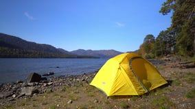 altai Dwa wideo w jeden Żółci namiotów koszty na banku halny jezioro zbiory wideo