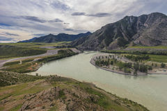 Altai, fusione Chui e Katun Immagine Stock Libera da Diritti
