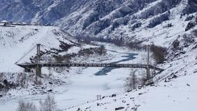 altai Il primo ponte sospeso della due-catena in Russia Fotografie Stock Libere da Diritti