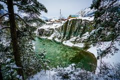 altai katun山河俄国 风景一个的冬天 库存照片