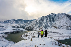 altai katun山河俄国 风景一个的冬天 库存图片