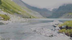 Altai, Kucherla, Rusia - junio, 20, 2018: río frío de la montaña actual Umbral en el río Rocas y árboles Azul claro almacen de video