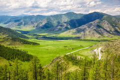 Altai landscapes from mountain pass Chike-Taman Royalty Free Stock Image