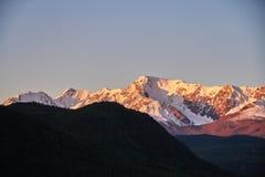 Altai, montagne innevate al tramonto Il sole di sera splende sulle montagne, il paesaggio l'Altai di autunno Rumore e sfuocatura Immagine Stock