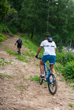 Altai in the mountain on bike Royalty Free Stock Image