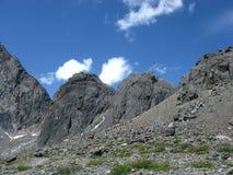 Altai mountain moraine. Stone sky clouds Stock Image