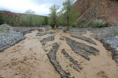 Altai mountain rapid muddy river Stock Photo