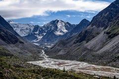 Altai mountains. Highland Akem lake on backgroind of mountain Beluha Stock Photos